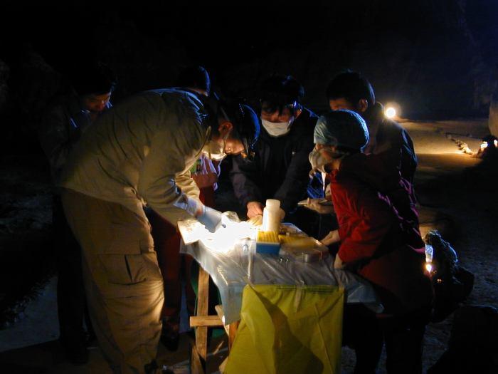 Collecting samples at night_fron Shi[9]
